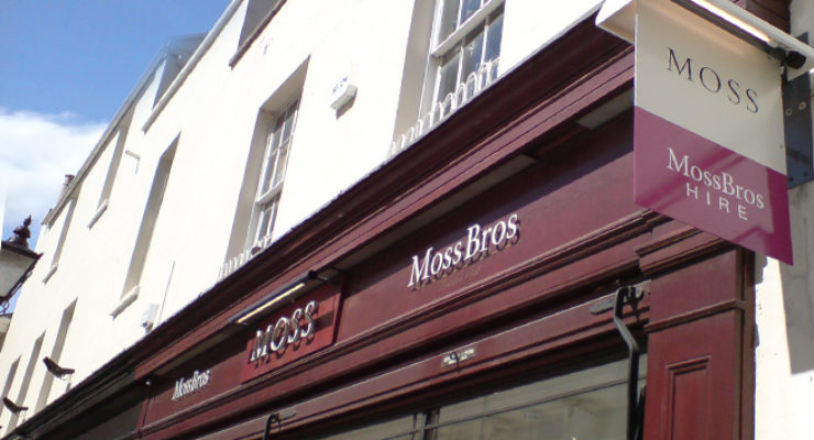 Shop Fascia Signage for Moss Bross