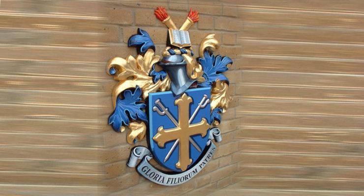 Gloria Filiorum Patres - Cast Aluminium Coat of Arms - Eltham College