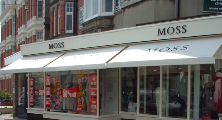 Sign Lettering and Canopy Signage for Moss Bross