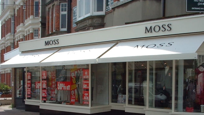 Sign Lettering and Canopy Signage for Moss Bros