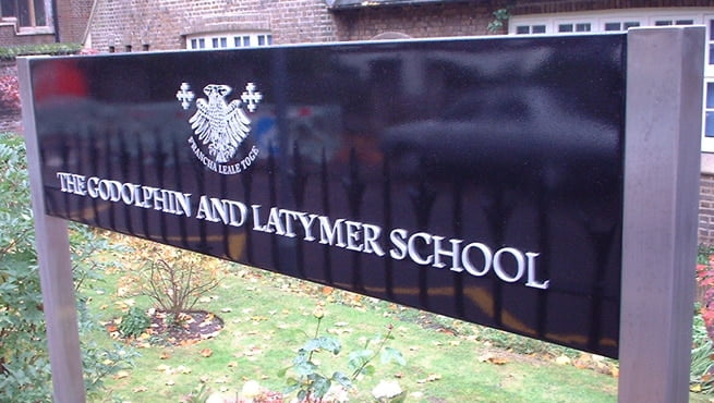 Godolphin and Latymer School, London. Post Mounted Tray with Cut out Metal Lettering