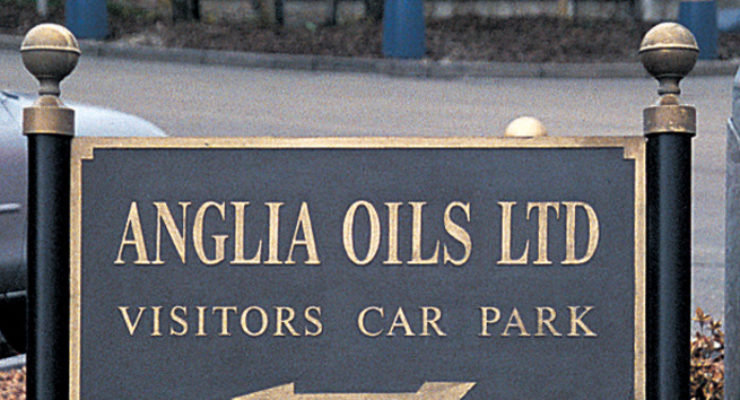 Anglia Oils Ltd - Post Mounted Solid Cast Aluminium Sign