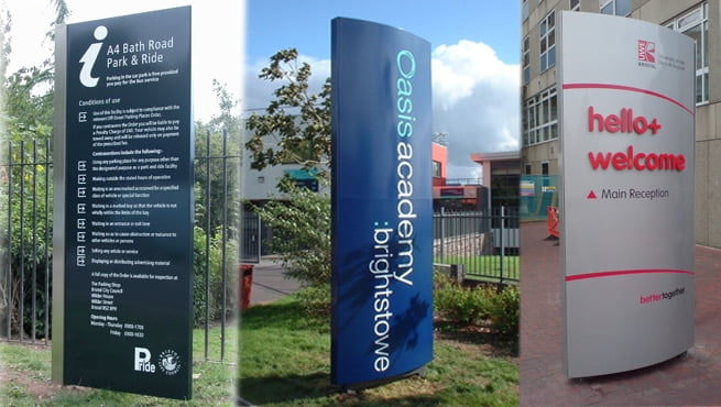 Monoliths for Bristol City Council, Oasis Academy and UWE, Bristol
