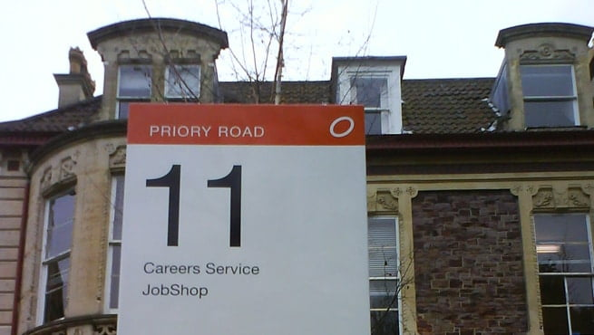 Priory Road, Bristol - Screen Printed and Vinyl Text for University of Bristol Campus