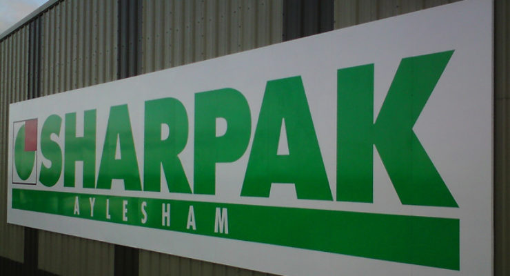 Sharpak Aylesham, 3000mm high aluminium panels with vinyl lettering