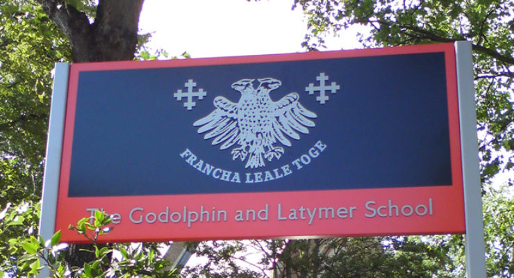 Godolphin and Latymer School - Post Mounted Cast Aluminium Coat of Arms