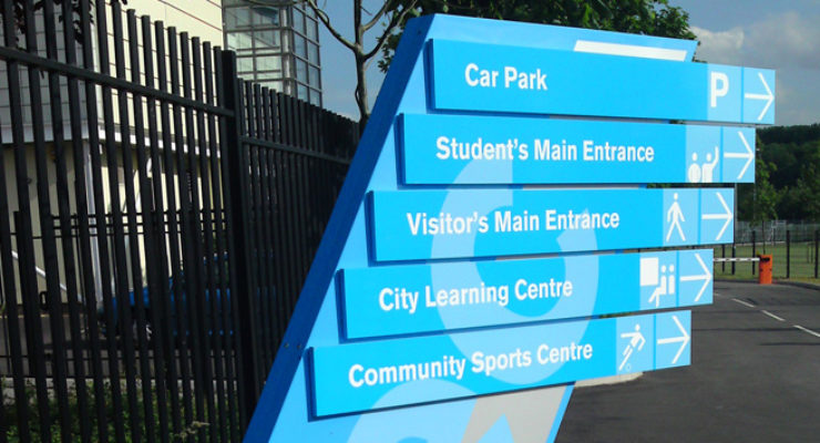 Custom Stylised Fingered Monolith Style Sign Post for Brislington Enterprise College