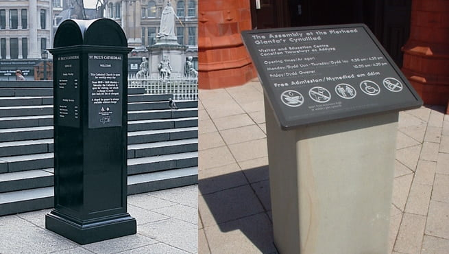 Monlith Style Signage - St Paul's Cathedral, Cynullad