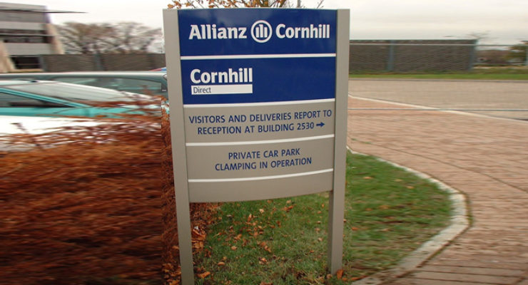 Post Mounted Signage in Directory Form for Allianz Cornhill
