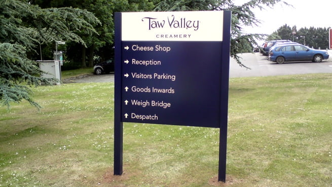 Taw Valley Creamery Post Mounted Directory of Signs