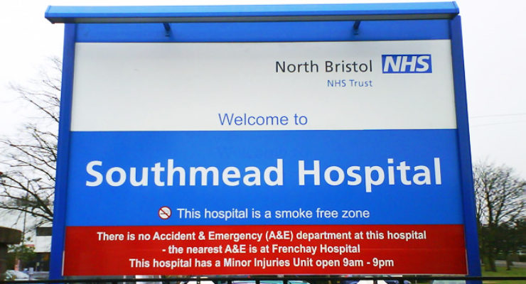 Illuminated Welcome To Sign, Southmead Hospital, Bristol