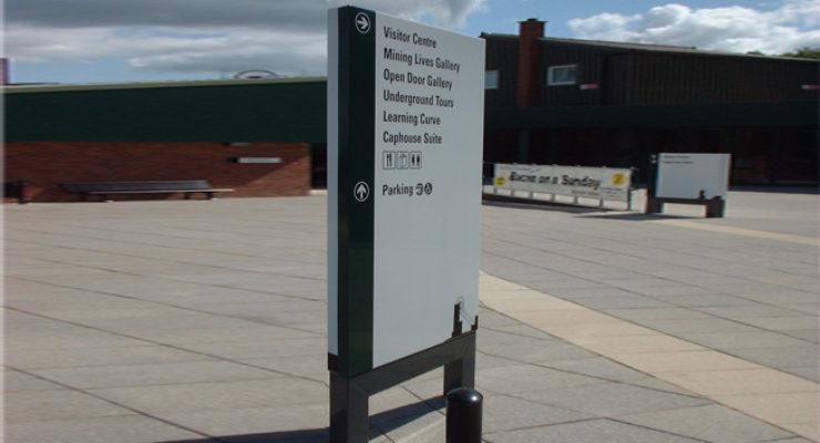 Monolith Sign for Nation Coal Mining Museum, with directory