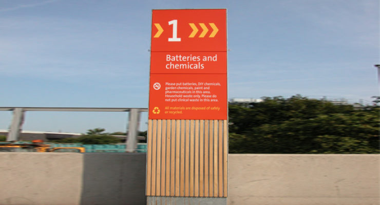 Wood and Aluminium Monolith Signage throughout Recycling Centres, Bristol