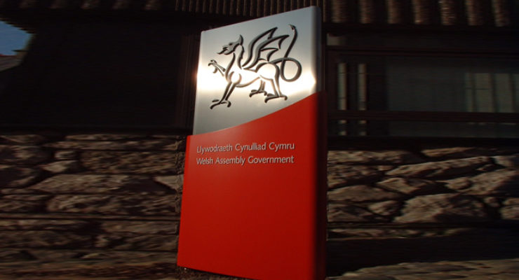 Welsh Assembly Government - Cast Aluminium Logo on Monolith Sign