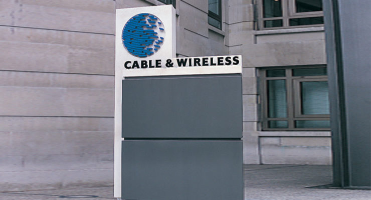 Monolith Sign for Cable & Wireless, with Lettering and Logo