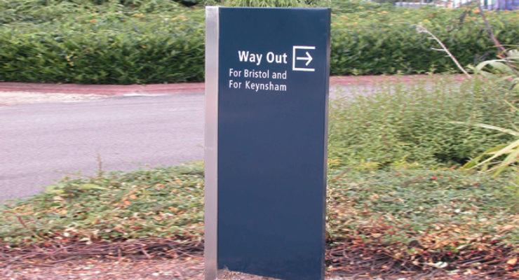Bristol / Keynsham City Council Way Out Monolith Sign