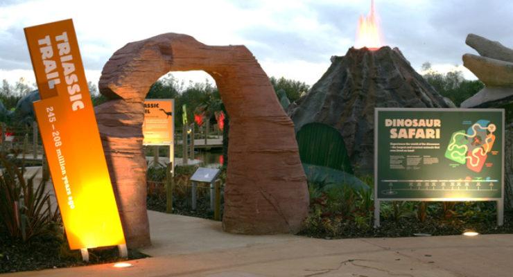 Slanted Monolith Signage for Blackpool Zoo - Triassic Trail