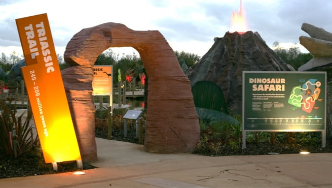 Slanted Monolith Signage for Blackpool Zoo - Triassic Trail
