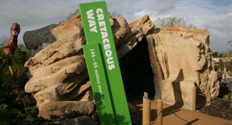 Slanted Monolith Signage for Blackpool Zoo - Cretaceous Way