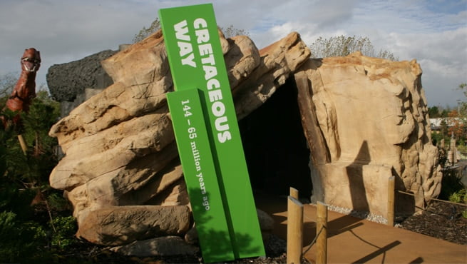Slanted Monolith Signage for Blackpool Zoo - Cretaceous Way