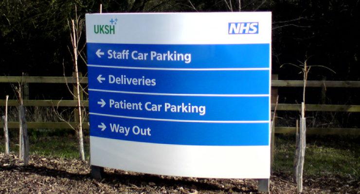 NHS / UKSH Devizes - Curved Hospital Monolith Signage Directory