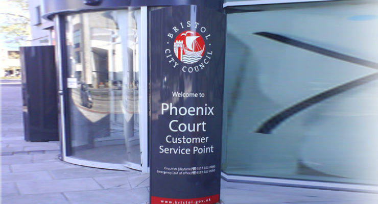Curved Face Monolith Sign for Phoenix Court Customer Service Point, Bristol
