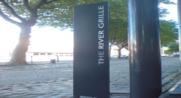 The River Grille, Bristol's Monolith Sign with Applied Stainless Lettering
