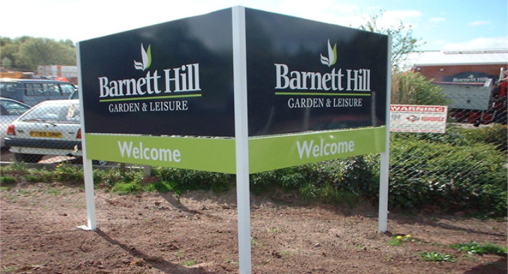 Barnett Hill Garden and Leisure Post Mounted Sign - Double Faced