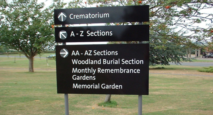 Bristol City Council, South Bristol Crematorium, Post Mounted Panel Sign