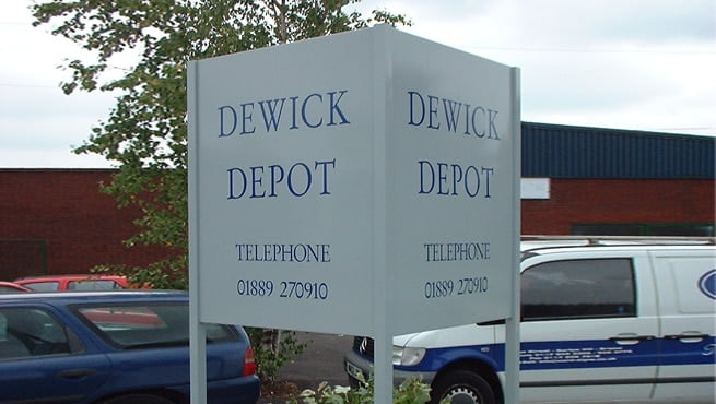 Dewick Depot Double Faced Sign