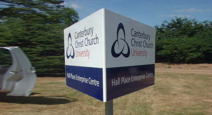 Triangular Post Mounted Sign - Cantebury Christ Church University