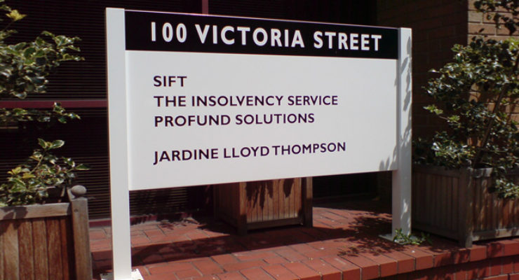 100 Victoria Street - Post Mounted Wall Sign