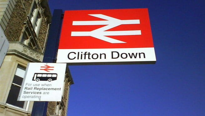 Clifton Down Railway Station, Bristol Post Mounted Sign