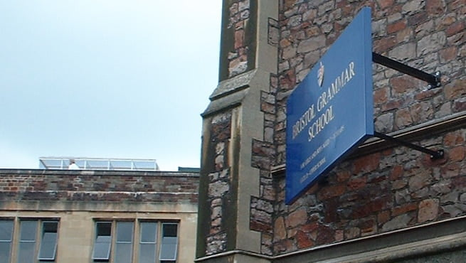 Angled Projecting Sign to Optimize Field of Vision - Bristol Grammar School