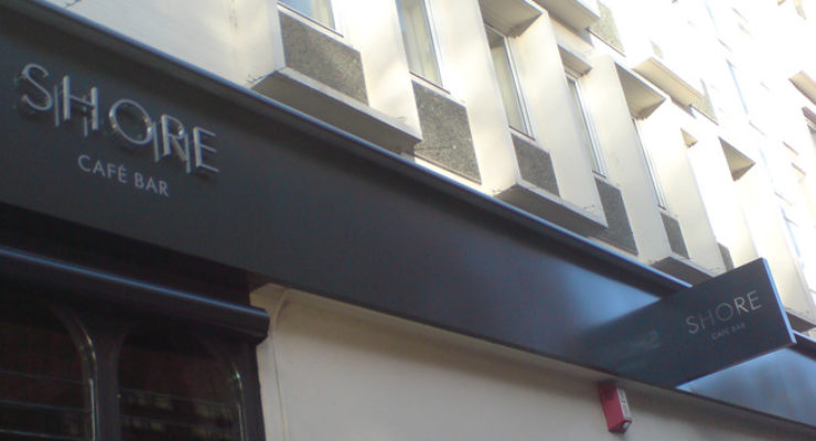 Shore Shop Front - Metal Letters and Projecting Illuminated Box Sign