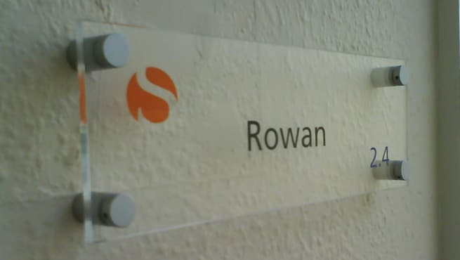 Acrylic Room Name Sign with stand off locators