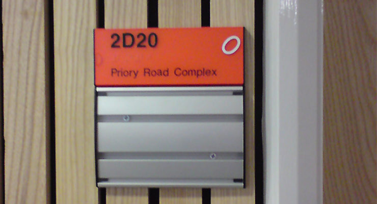 University of Bristol - Priory Road Complex - Tactile Signage with Panel for Inserts