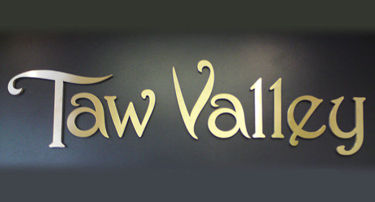 Cut Out Aluminium Letters for Taw Valley Creamery, painted Gold