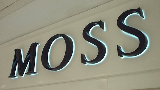 Moss Bros - Built up Stainless Letters, Painted with Halo effect lighting