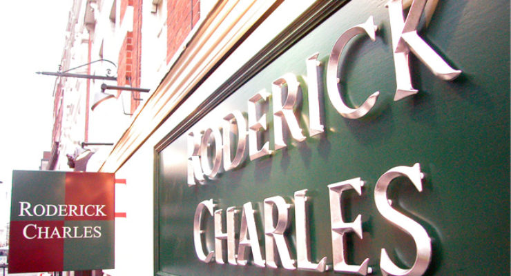 V-Section Cast Resin Lettering and Projecting Sign for Roderick Charles