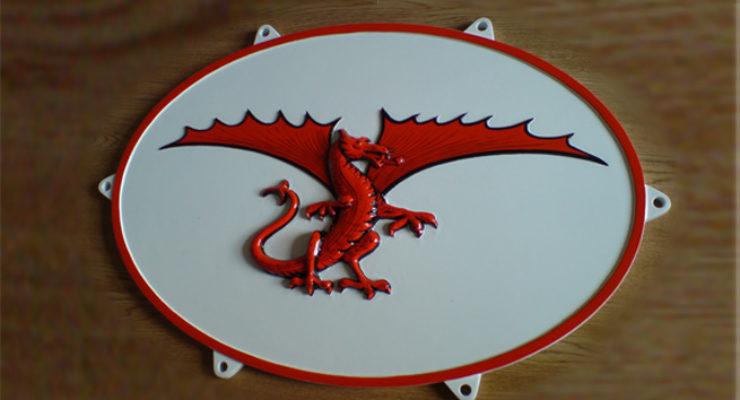 3D Modelled Red Dragon, Cast Aluminium Plaque