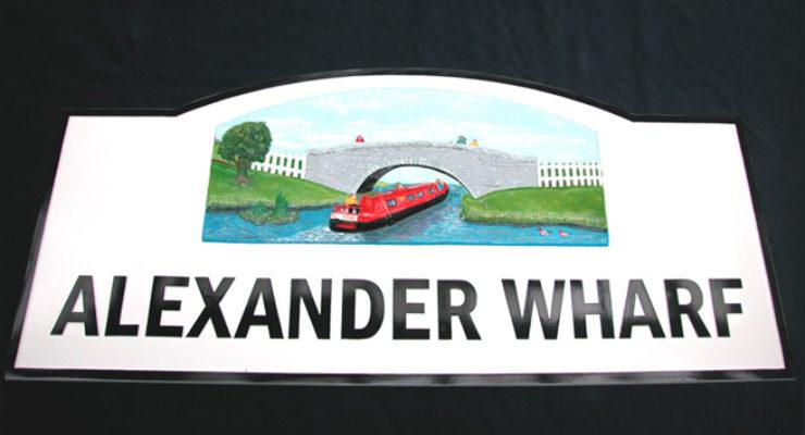 3D Modelled Cast Aluminium Street Name - Alexander Wharf, Barge