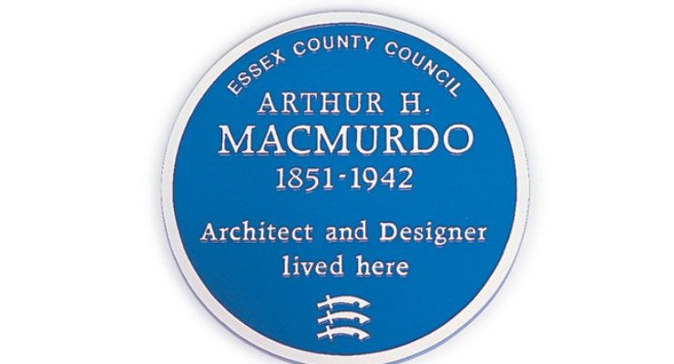 Blue Heritage Plaque- Arthur H. Macmurdo