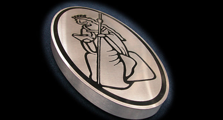 Satin Stainless Steel Plaque on built up background