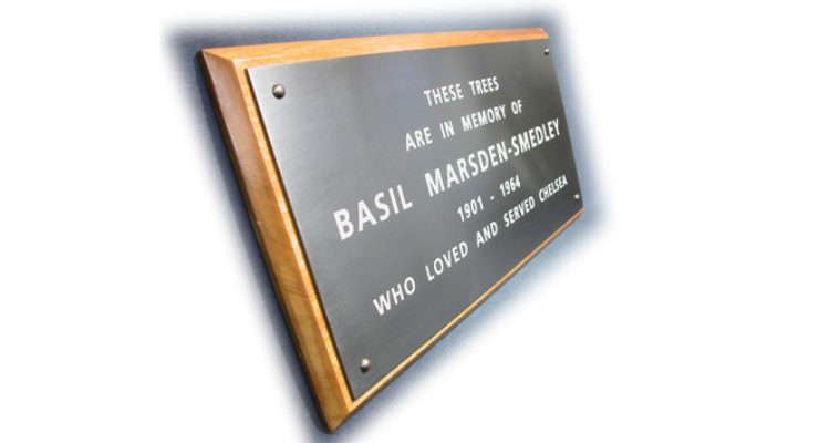 Basil Marsden-Smedly - Engraved Bronze Plaque on Hard Wood Plinth