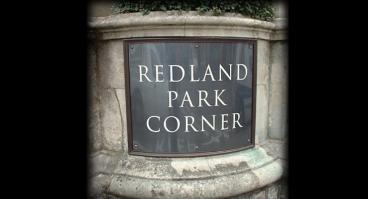 Curved Bronze Plaque with Engraved Detail, Redland Park Corner, Bristol