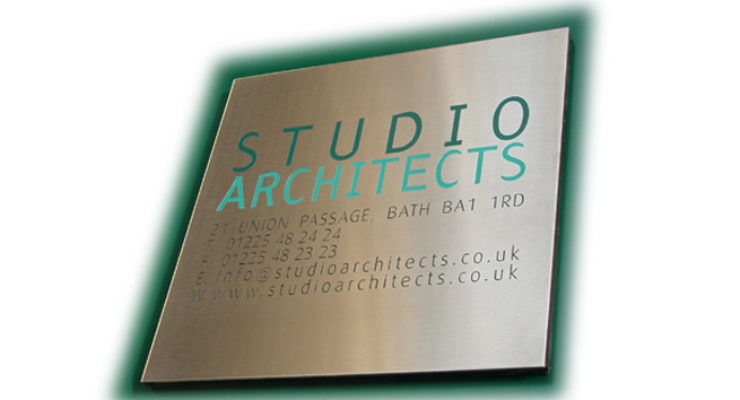 Etched, infilled stainless steel plaque with multiple colours