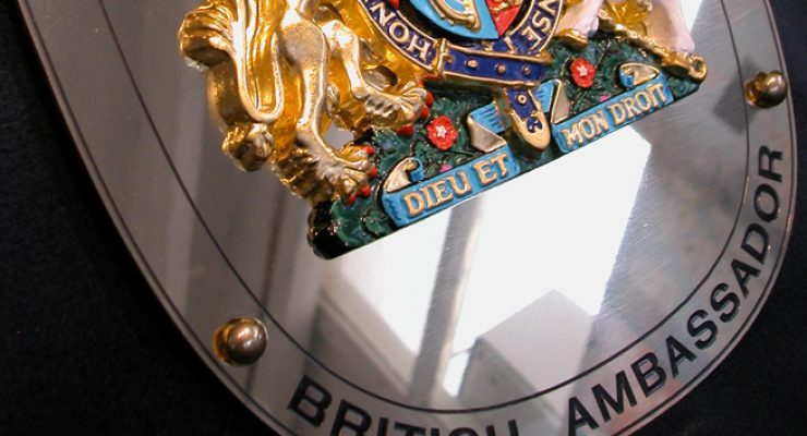 Close up of Gilded Coat of Arms and Plaque for the British Ambassador