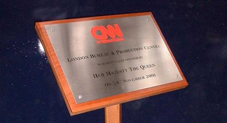 Etched Infilled Stainless Steel Plate for CNN to Mark Royal Visit