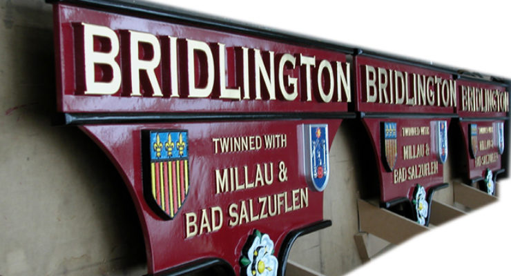 Bridlington Hand Crafted Cast Aluminium Plaques - Twinned With